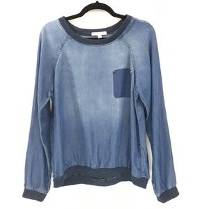 Life in Progress Blue Pullover Top size M